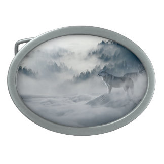 Wolves in Snowy Winter Landscape Oval Belt Buckles