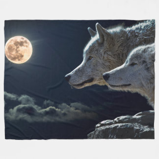 Wolves In The Moonlight Fleece Blanket, Large