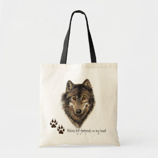 Wolves left footprints on my Heart, Wolf Quote Tote Bag