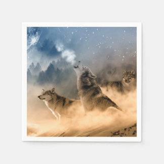 Wolves Moon Fog Nature Scenery Disposable Napkins