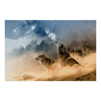 Wolves Moon Fog Nature Scenery Poster