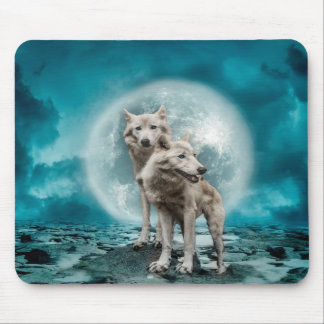 Wolves & Moon Mouse Pad
