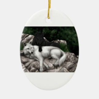 Wolves Play Ceramic Oval Ornament