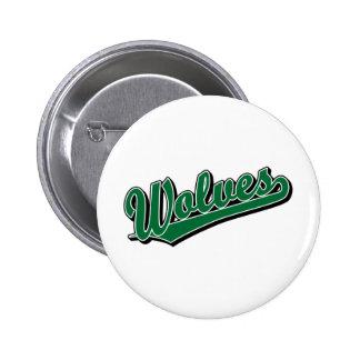 Wolves script logo in green 2 inch round button