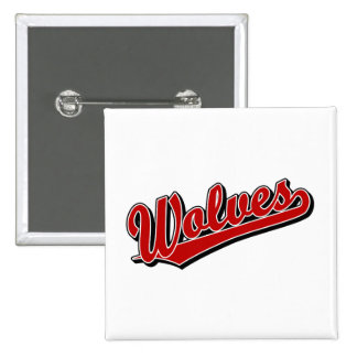 Wolves script logo in red buttons