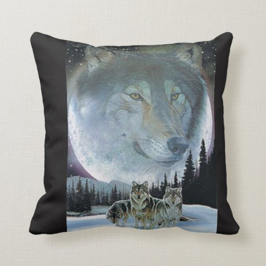 Wolves & the moon throw pillow