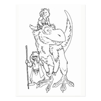 Wolves with Pet Dinosaur Postcard