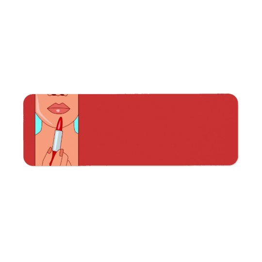 woman716 WOMAN RED LIPSTICK FASHION STYLE SALON BE Return Address Label