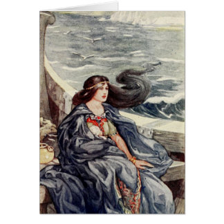 Woman Adrift at Sea - Card