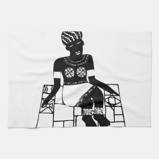 Woman, African drawing Towels