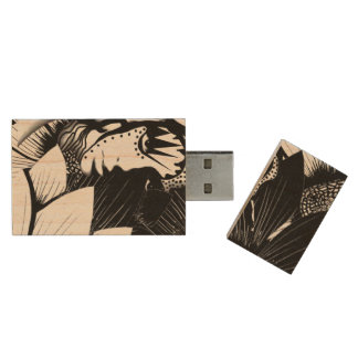 Woman amongst flowes USB Rectangle Wood USB Flash Drive