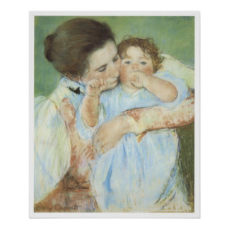 Woman and Child against a green background 1887 Print