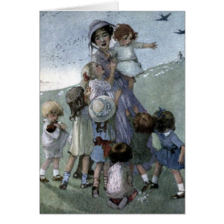 Woman and Children in a Meadow, Card