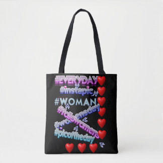 Woman and hashtags tote bag