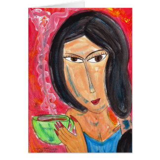 Woman and Latte Card