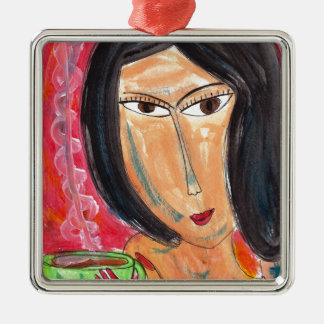 Woman and Latte Metal Ornament
