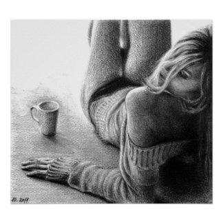 Woman and morning coffee Graphite Poster print