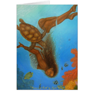 Woman and Turtle Blank Card