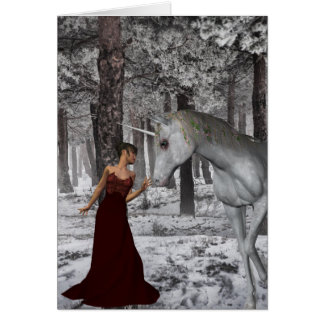 Woman and Unicorn in Snow Greeting Card + Env
