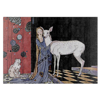 Woman and White Fawn Illustration Cutting Board