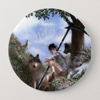 Woman and Wolves Button