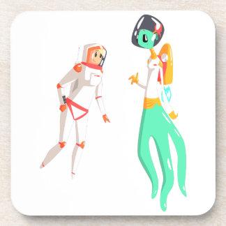 Woman Astronaut Meeting Alien Female Being On Dark Coaster