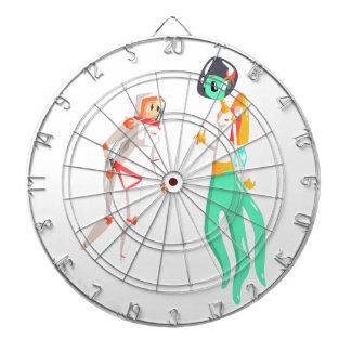 Woman Astronaut Meeting Alien Female Being On Dark Dartboard
