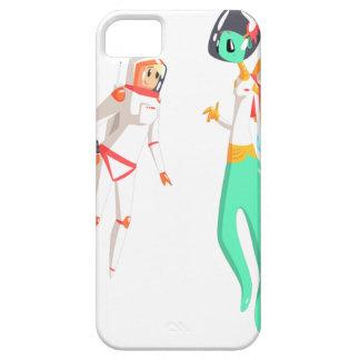 Woman Astronaut Meeting Alien Female Being On Dark iPhone 5 Cases