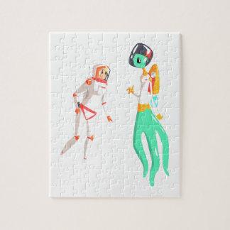 Woman Astronaut Meeting Alien Female Being On Dark Jigsaw Puzzle
