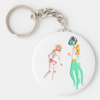 Woman Astronaut Meeting Alien Female Being On Dark Keychain