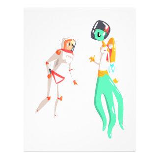Woman Astronaut Meeting Alien Female Being On Dark Letterhead