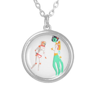 Woman Astronaut Meeting Alien Female Being On Dark Silver Plated Necklace