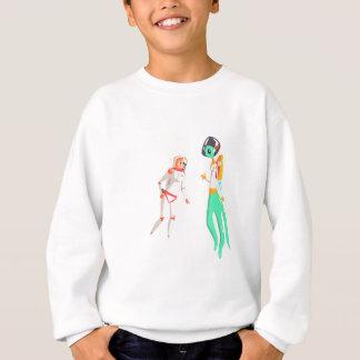 Woman Astronaut Meeting Alien Female Being On Dark Sweatshirt