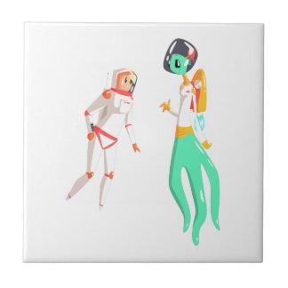 Woman Astronaut Meeting Alien Female Being On Dark Tile