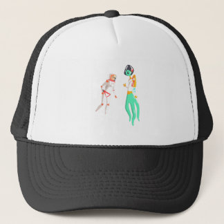Woman Astronaut Meeting Alien Female Being On Dark Trucker Hat