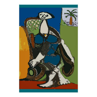Woman at Beach in Chair Abstract Poster