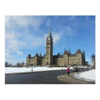 Woman at Canadian Parliament in Ottawa Postcard