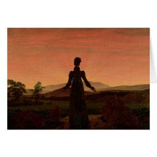 Woman at dawn card