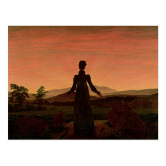 Woman at dawn postcard