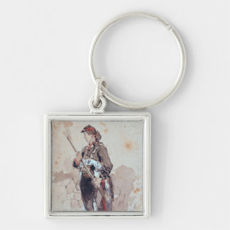 Woman at the Hotel de Ville Keychain