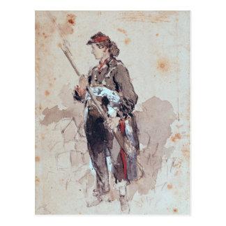 Woman at the Hotel de Ville Postcard