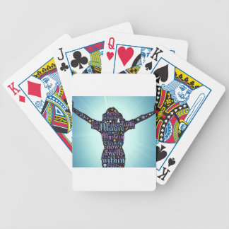 woman attri bicycle playing cards