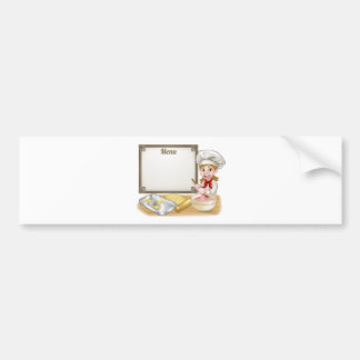 Woman Baker or Pastry Chef Menu Sign Bumper Sticker