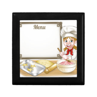 Woman Baker or Pastry Chef Menu Sign Gift Box