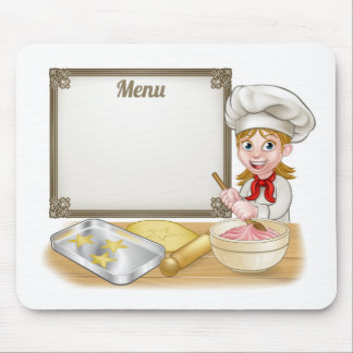 Woman Baker or Pastry Chef Menu Sign Mouse Pad