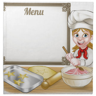 Woman Baker or Pastry Chef Menu Sign Napkin