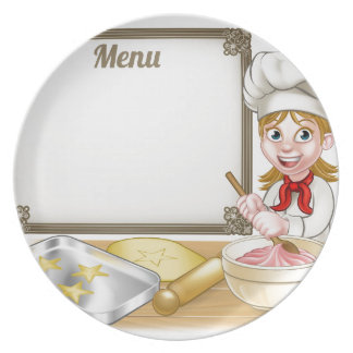 Woman Baker or Pastry Chef Menu Sign Plate