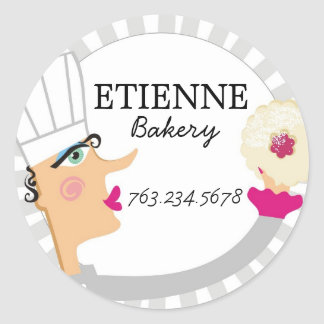 Woman baker pastry chef cookie gift tag sticker