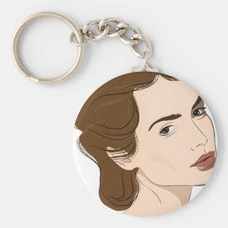 woman basic round button keychain