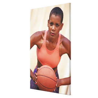 Woman basketball player stretched canvas print